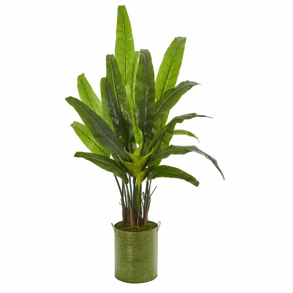 5� Travelers Palm Artificial Tree in Metal Planter