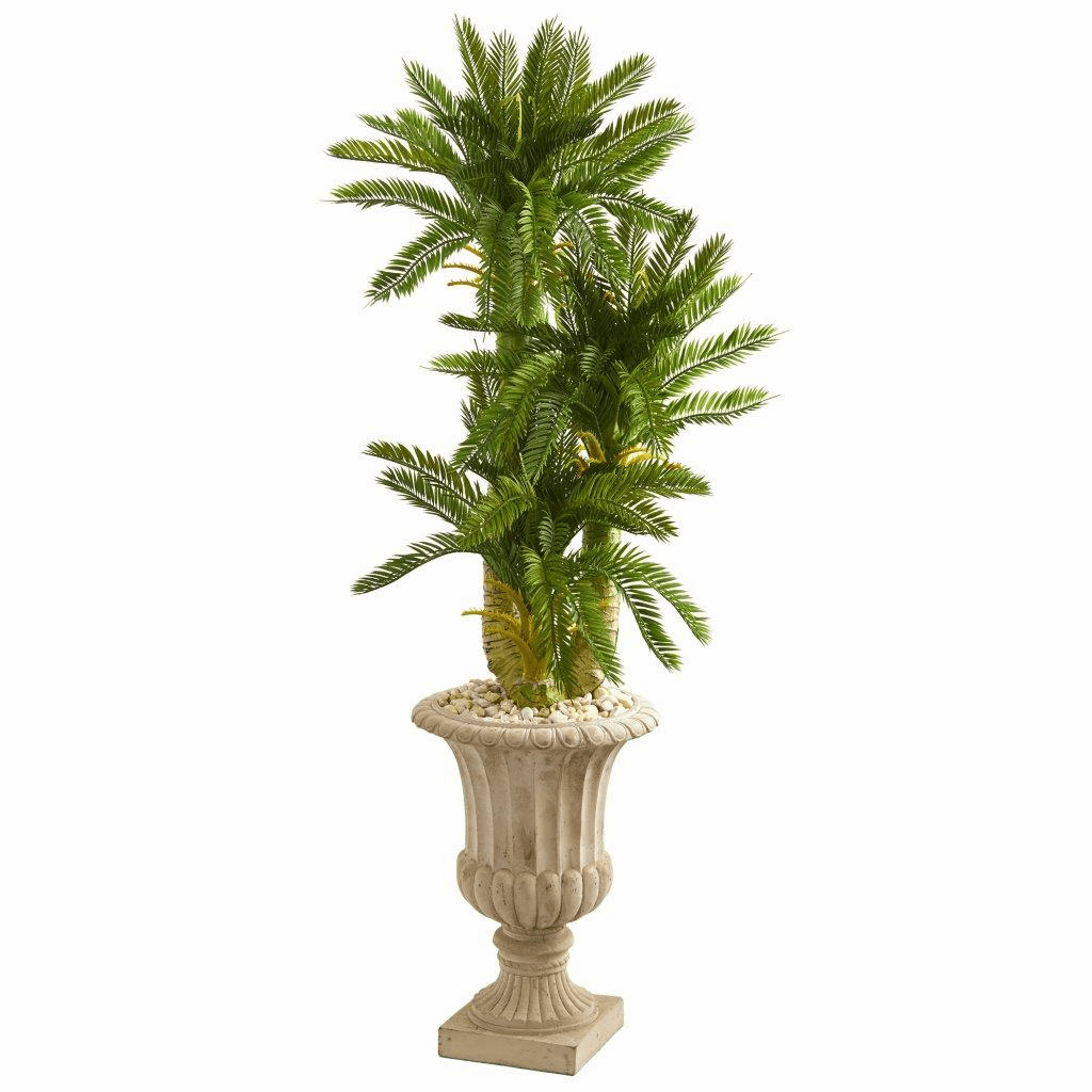 5� Triple Cycas Artificial Plant in Urn