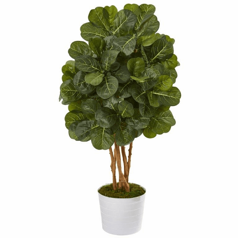 50� Fiddle Leaf Fig Artificial Tree in White Tin Planter -