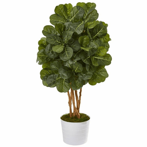 "50"" Fiddle Leaf Fig Artificial Tree in White Tin Planter -"