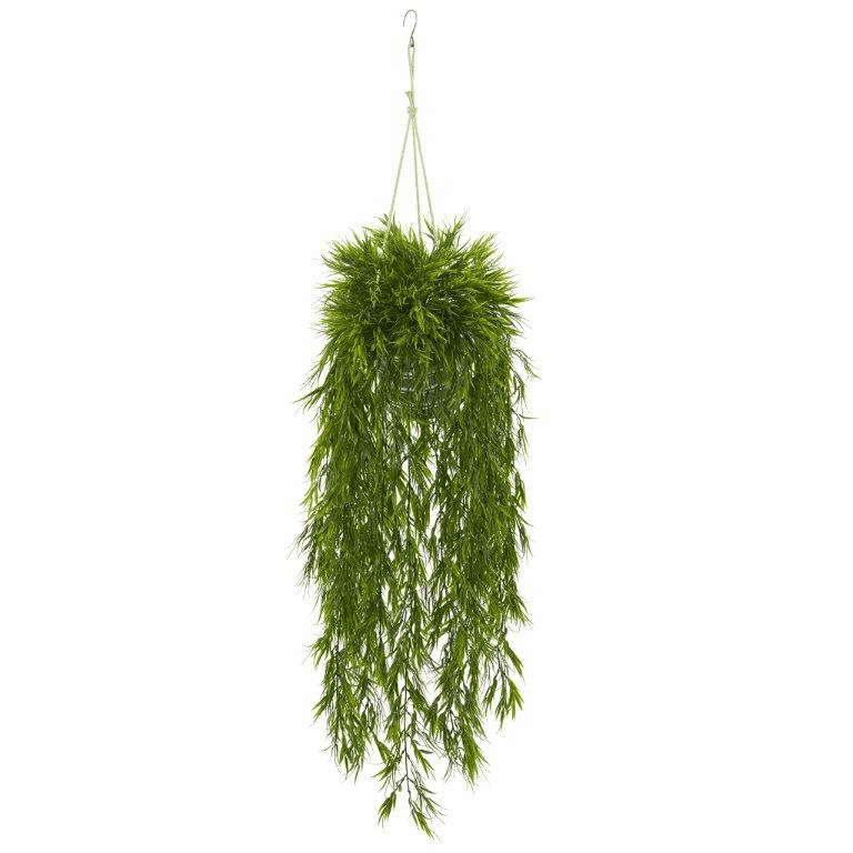 50� Mini Bamboo Artificial Plant in Hanging Metal Bucket