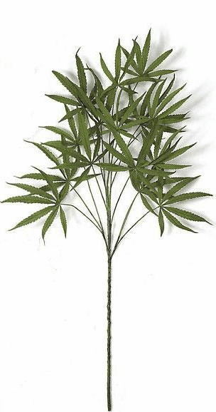"50"" Silk Marijuana Artificial Plants in Green - Set of 12 Stems"