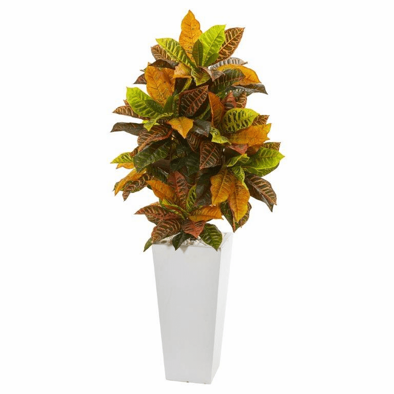 51� Croton Artificial Plant in White Tower Planter (Real Touch)