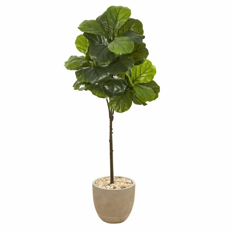 51� Fiddle Leaf Artificial Tree in Sandstone Planter (Real Touch) -
