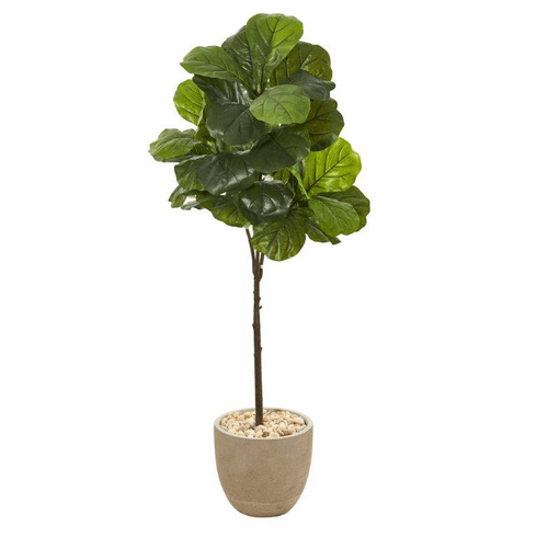 """51"""" Fiddle Leaf Artificial Tree in Sandstone Planter (Real Touch) -"""