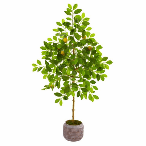 "51"" Lemon Artificial Tree in Stoneware Planter -"