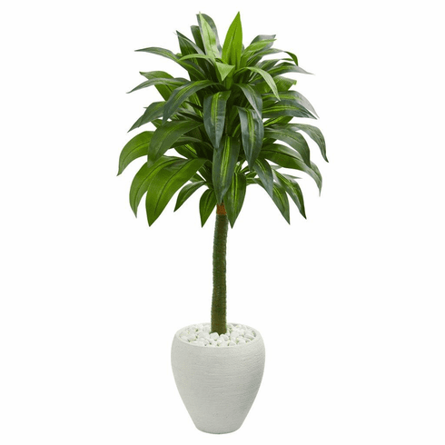 "52"" Dracaena Artificial Plant in White Planter"