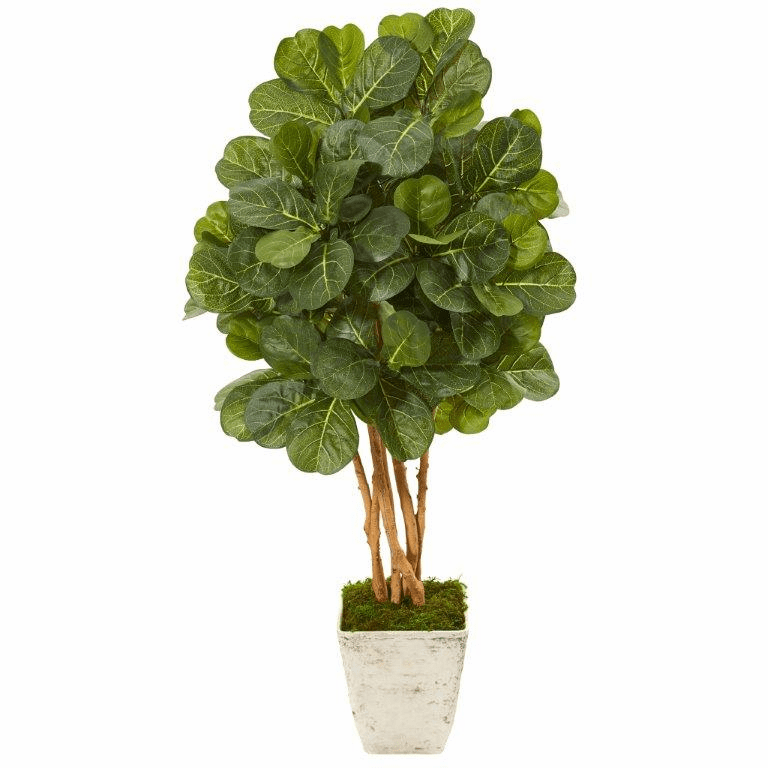 52� Fiddle Leaf Fig Artificial Tree in Country White Planter -