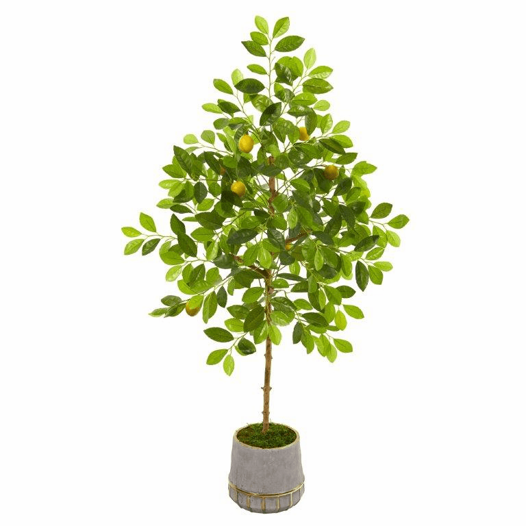 52� Lemon Artificial Tree in Stoneware Vase with Gold Trimming -