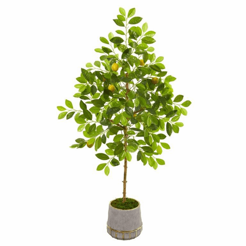 "52"" Lemon Artificial Tree in Stoneware Vase with Gold Trimming -"