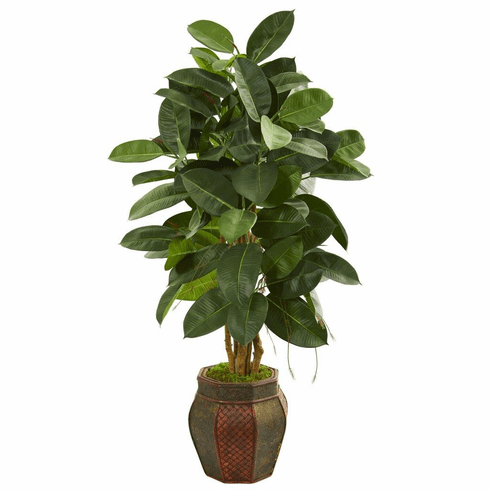 "52"" Rubber Leaf Artificial Tree in Decorative Planter"