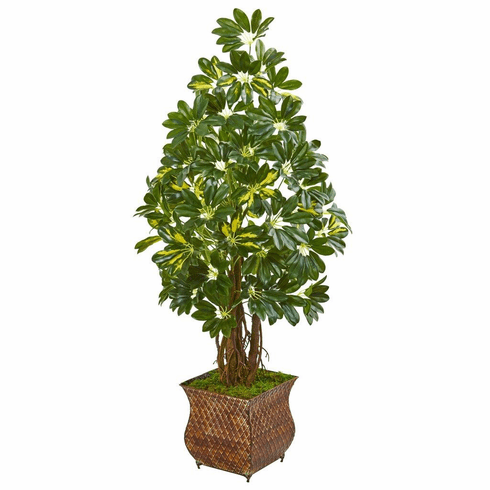 "52"" Schefflera Artificial Tree in Brown Metal Planter"