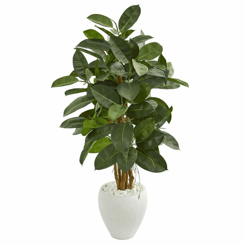 "53"" Artificial Rubber Tree in White Planter"