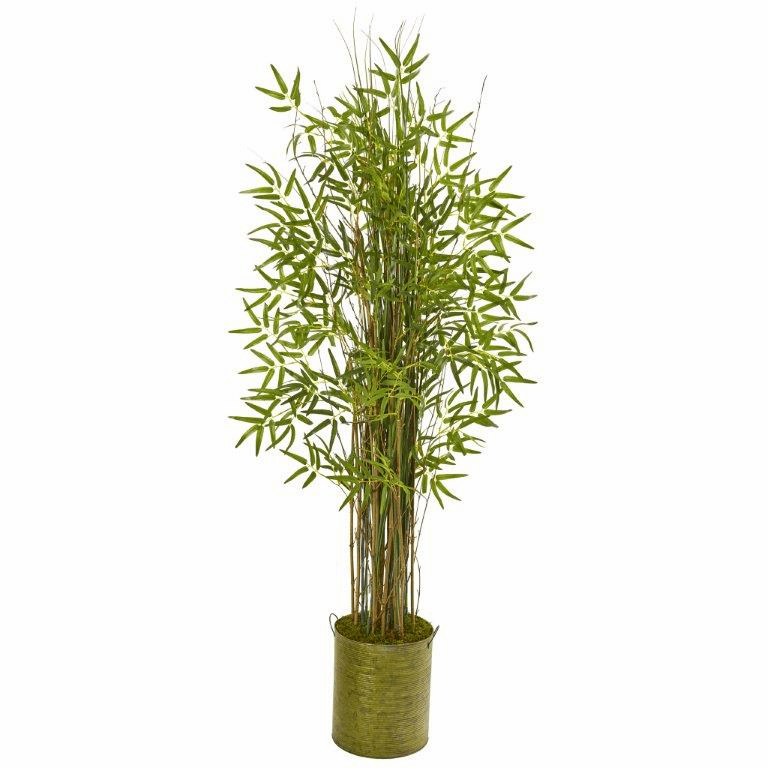 53� Bamboo Grass Artificial Plant in Green Metal Planter -