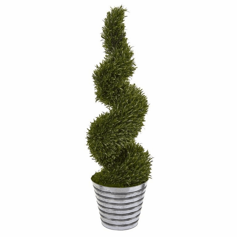 53� Rosemary Spiral Topiary Artificial Tree in Decorative Tin Bucket (Indoor/Outdoor) -