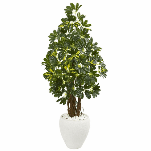 "53"" Schefflera Artificial Tree in White Planter"