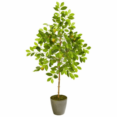 """54"""" Lemon Artificial Tree in Olive Green Planter -"""