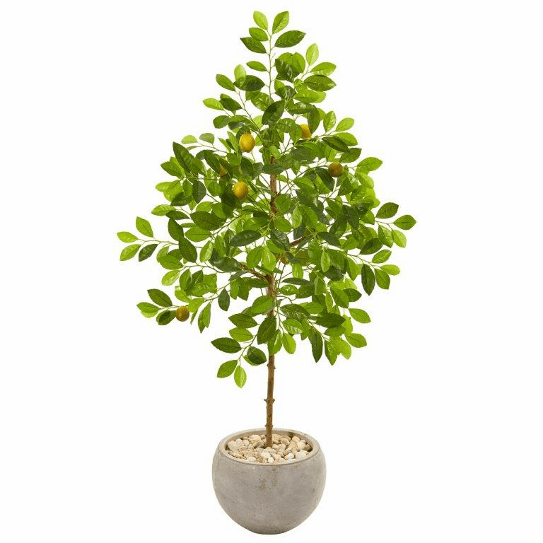 54� Lemon Artificial Tree in Sand Colored Planter -