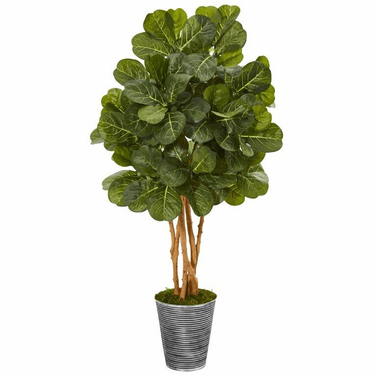55� Fiddle Leaf Fig Artificial Tree in Decorative Tin Planter -