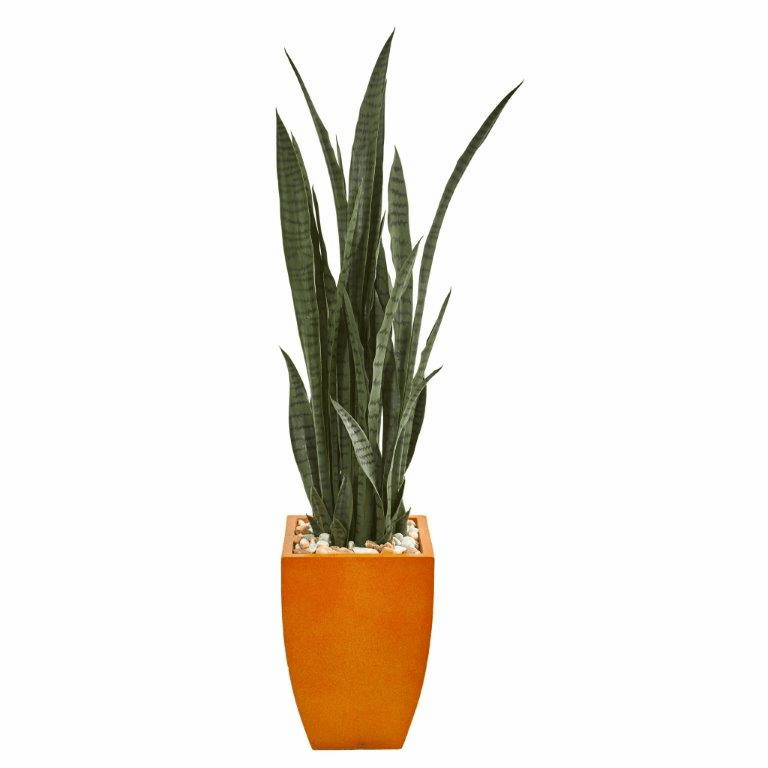 55� Sansevieria Artificial Plant in Orange Planter