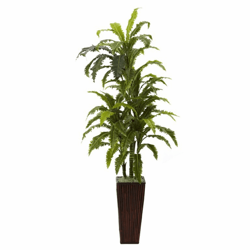 "55"" Silk Margarintum with Decorative Bamboo Planter"