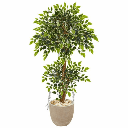 "55"" Variegated Ficus Artificial Tree in Sandstone Planter"