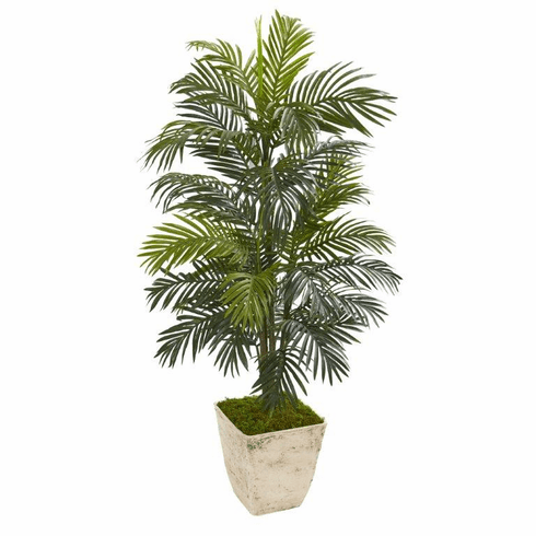 "56"" Areca Palm Artificial Plant in Country White Planter"