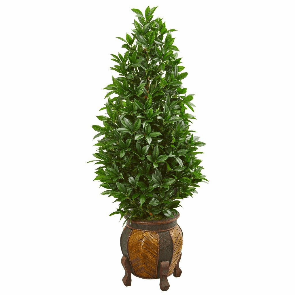 56� Bay Leaf Cone Topiary Artificial Tree in Decorative Planter