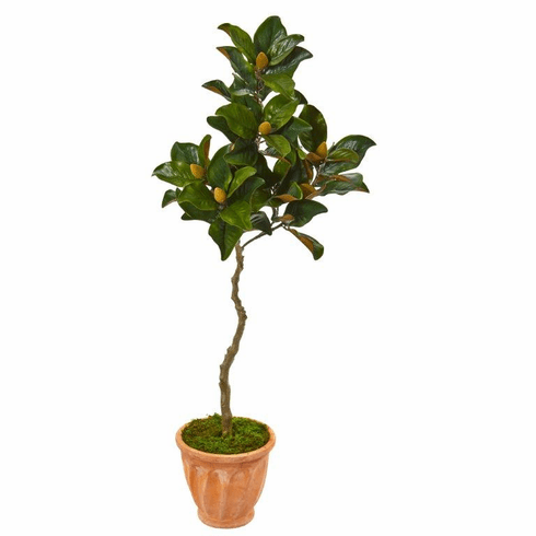 "56"" Magnolia Artificial Tree in Orange Planter -"