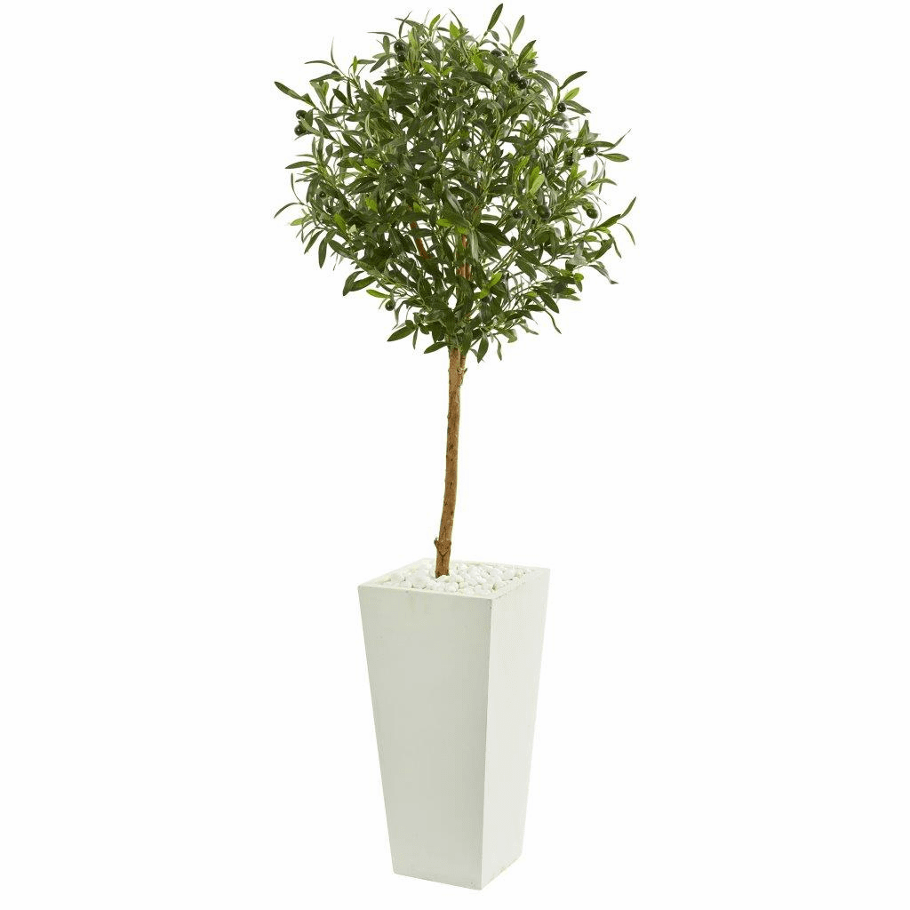 56� Olive Artificial Tree in White Tower Planter