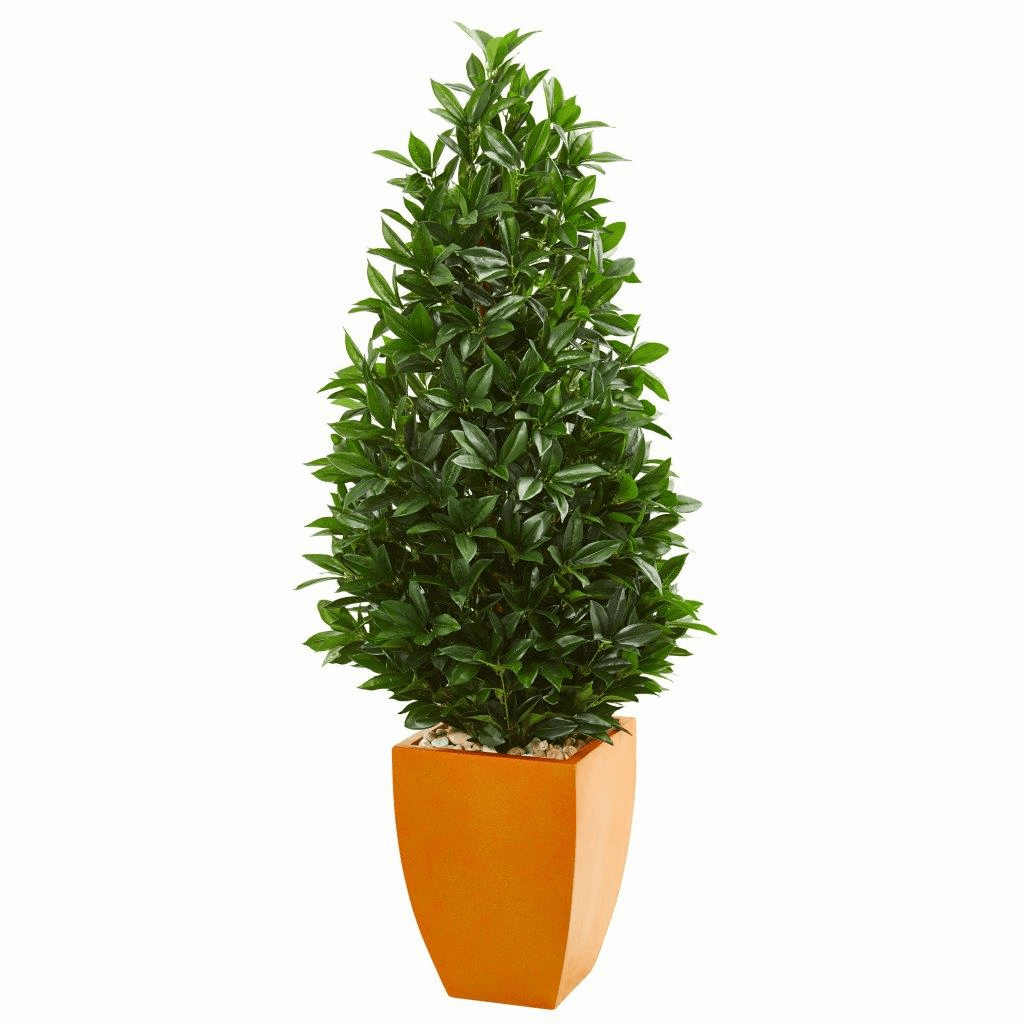 57� Bay Leaf Artificial Topiary Tree in Orange Planter UV Resistant (Indoor/Outdoor)