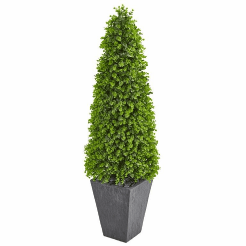"57"" Eucalyptus Topiary Artificial Tree in Slate Planter (Indoor/Outdoor)"