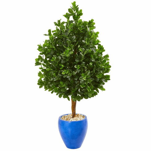 """57"""" Evergreen Artificial Tree in Blue Planter"""