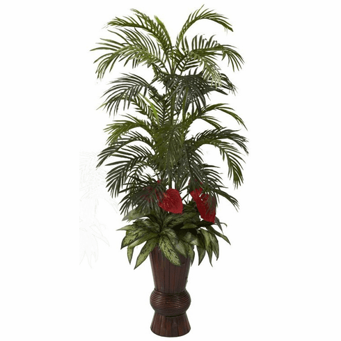 """58"""" Areca Palm, Anthurium With Mixed Greenery in Bamboo Planter"""