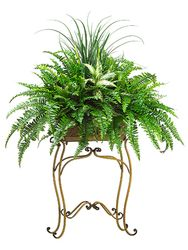 """58"""" Artificial Plant with Grass, Fern  bushes and Aglaonema in Metal Plant Stand"""