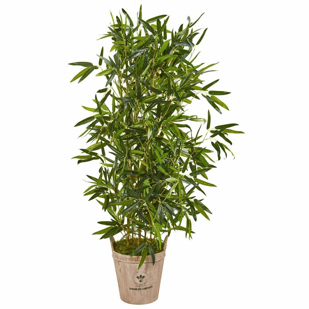 58� Bamboo Artificial Tree in Farmhouse Planter (Real Touch)