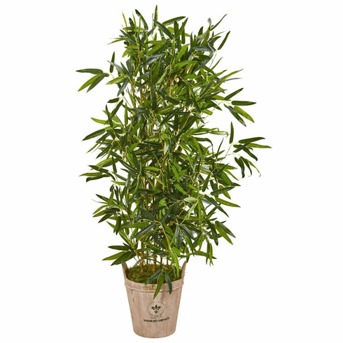 "58"" Bamboo Artificial Tree in Farmhouse Planter (Real Touch)"
