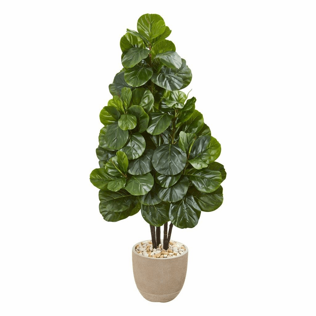 58� Fiddle Leaf Fig Artificial Tree in Sand Stone Planter