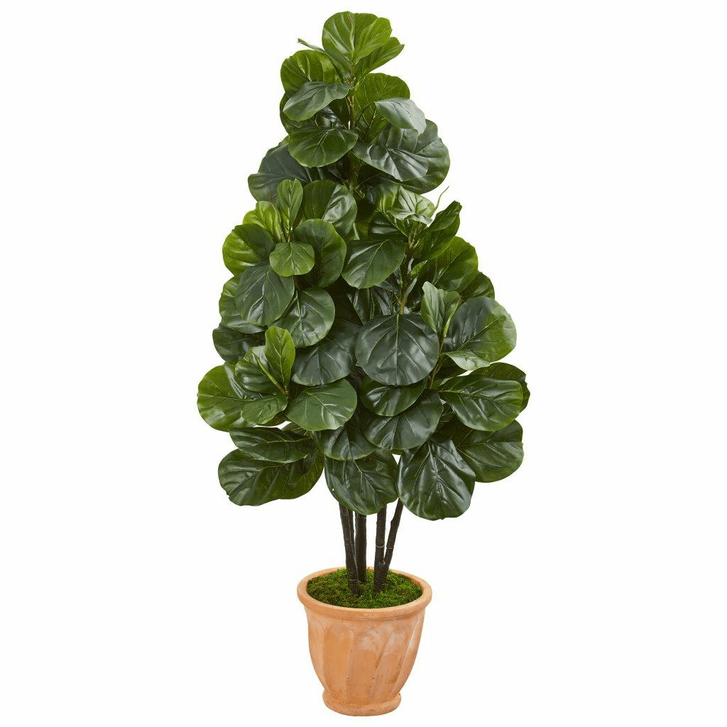 58� Fiddle Leaf Fig Artificial Tree in Terra Cotta Planter