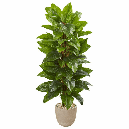 """58"""" Large Leaf Philodendron Artificial Plant in Sand Stone Planter (Real Touch)"""
