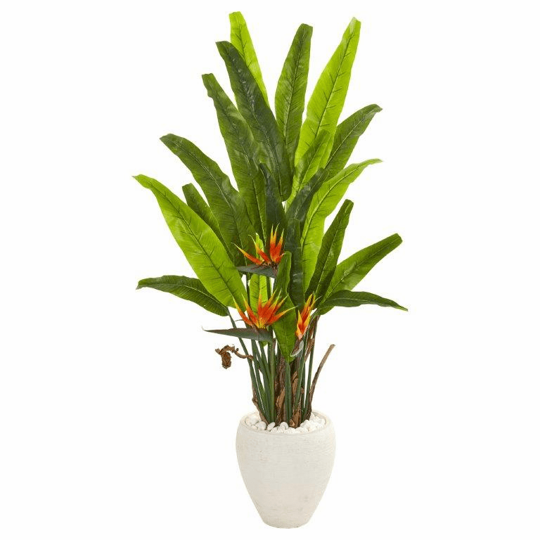 59� Bird of Paradise Artificial Plant in White Planter