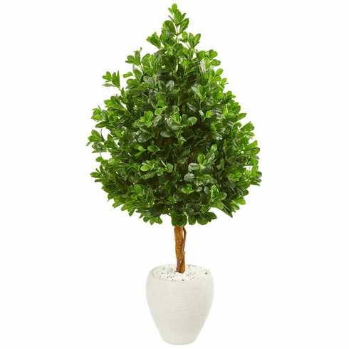 "59"" Evergreen Artificial Tree in White Planter"