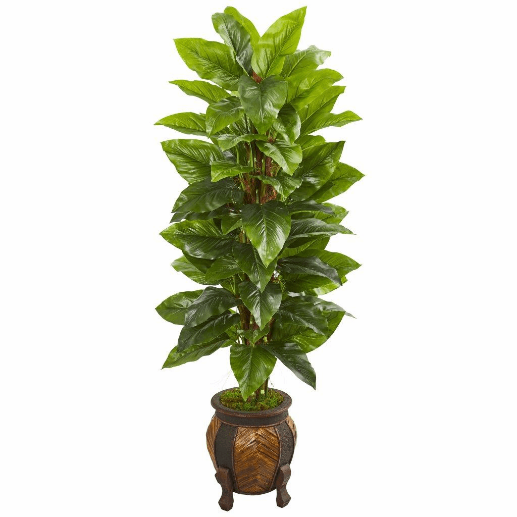 59� Large Leaf Philodendron Artificial Plant in Decorative Planter (Real Touch)