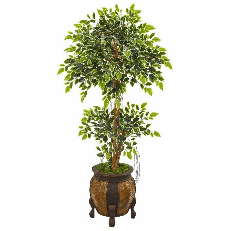 59� Variegated Ficus Artificial Tree in Decorative Planter
