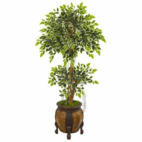 """59"""" Variegated Ficus Artificial Tree in Decorative Planter"""