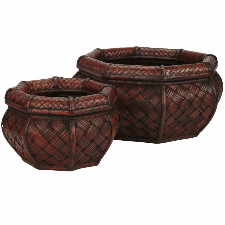 "6.5""-7.5"" Rounded Ocatagon Decorative Planters-Set 2"