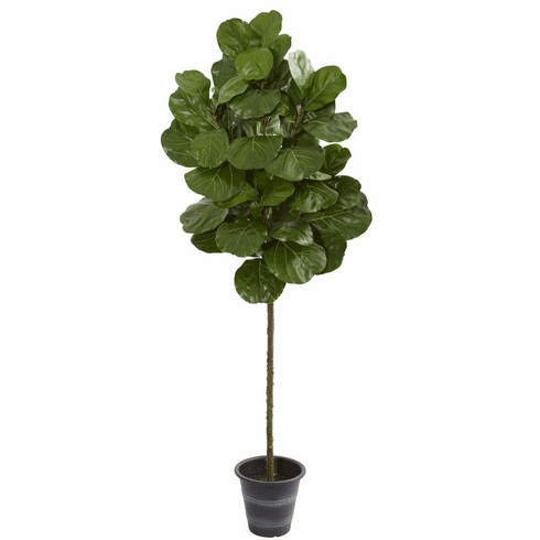 6.5' Fiddle Leaf Artificial Tree With Decorative Planter