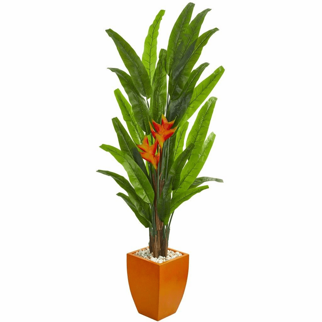 6.5� Heliconia Artificial Plant in Orange Planter