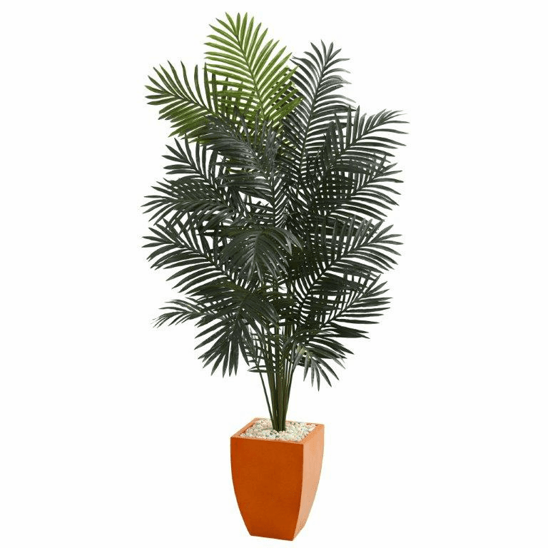6.5� Paradise Artificial Palm Tree in Orange Planter -