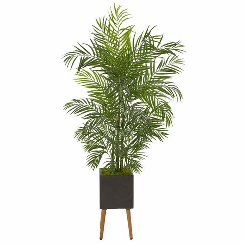 6' Areca Artificial Palm Tree in Black Planter with Stand UV Resistant (Indoor/Outdoor)